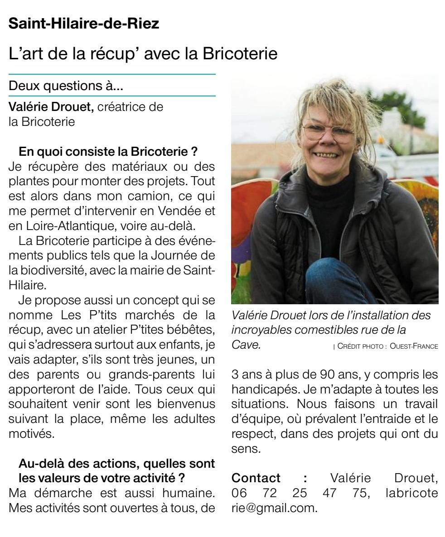 Valérie Drouet lors de l'installation des incroyables comestibles rue de la Cave.